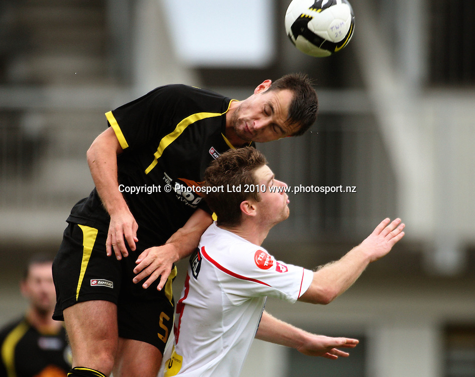 Wellington's Michael Winsauer beats Brent Fisher to a header.<br /> NZFC soccer  - Team Wellington v Waitakere United at Newtown Park, Wellington. Sunday, 4 April 2010. Photo: Dave Lintott/PHOTOSPORT