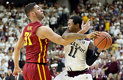 Iowa State's Georges Niang (31) fouls Texas A&M's Anthony Collins (11) to foul out of the game during the second half of an NCAA college basketball game, Saturday, Jan. 30, 2016, in College Station, Texas. Texas A&M won 72-62. (AP Photo/Sam Craft)