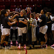 24 February 2018: The San Diego State women's basketball team closes out it's home schedule of the regular season Saturday afternoon against San Jose State. Three seniors are congratulated by the bench as they come off the court late in the game against San Jose State. The Aztecs beat the Spartans 85-78 at Viejas Arena.<br /> More game action at sdsuaztecphotos.com