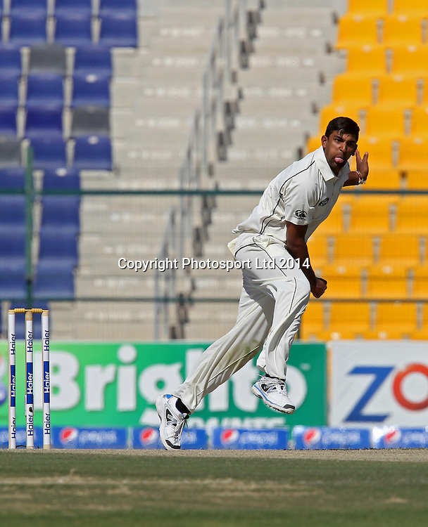 Pakistan vs New Zealand, 10 November 2014 <br /> Ish Sodhi bowls against Pakistan on the second day of First Test in Abu Dhabi