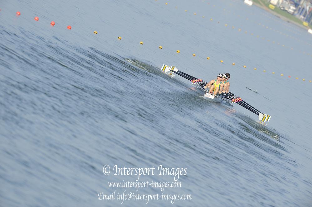 Brest, Belarus.  AUS M4X, at the start, 2010. FISA U23 Championships. Friday,  23/07/2010.  [Mandatory Credit Peter Spurrier/ Intersport Images]