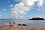 Rodrigues Island. Fishing boats off the lagoon.