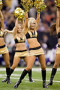 NEW ORLEANS, LA - SEPTEMBER 9:   Cheerleaders of the New Orleans Saints perform during the season opener against the Minnesota Vikings at the Louisiana Superdome on September 9, 2010 in New Orleans, Louisiana.  The Saints defeated the Vikings 14-9.  (Photo by Wesley Hitt/Getty Images) *** Local Caption ***