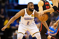OKLAHOMA CITY, OK - APRIL 21: Raymond Felton #2 of the Oklahoma City Thunder plays defense during a game against the Portland Trail Blazers during Round One Game Three of the 2019 NBA Playoffs on April 21, 2019 at Chesapeake Energy Arena in Oklahoma City, Oklahoma  NOTE TO USER: User expressly acknowledges and agrees that, by downloading and or using this photograph, User is consenting to the terms and conditions of the Getty Images License Agreement.  The Trail Blazers defeated the Thunder 111-98.  (Photo by Wesley Hitt/Getty Images) *** Local Caption *** Raymond Felton