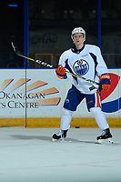 PENTICTON, CANADA - SEPTEMBER 9: Kailer Yamamoto #56 of Edmonton Oilers stands on the ice during morning ice on September 9, 2017 at the South Okanagan Event Centre in Penticton, British Columbia, Canada.  (Photo by Marissa Baecker/Shoot the Breeze)  *** Local Caption ***