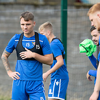 St Johnstone Training….<br />Jason Kerr pictured during training at McDiarmid Park ahead of Sunday's game against Rangers<br />Picture by Graeme Hart.<br />Copyright Perthshire Picture Agency<br />Tel: 01738 623350  Mobile: 07990 594431