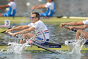 Munich, GERMANY, 02.09.2007,   A Final,GRB LM 4-,  James Lindsay-Fynn,  winning the Gold Medal at  the 2007 World Rowing Championships, taking place on the  Munich Olympic Regatta Course, Bavaria. [Mandatory Credit. Peter Spurrier/Intersport Images]. , Rowing Course, Olympic Regatta Rowing Course, Munich, GERMANY