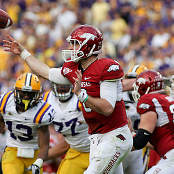 November 25, 2011; Baton Rouge, LA, USA; Arkansas Razorbacks quarterback Tyler Wilson (8) against the LSU Tigers during the second half of a game at Tiger Stadium. LSU defeated Arkansas 41-17. Mandatory Credit: Derick E. Hingle-US PRESSWIRE