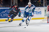 KELOWNA, BC - OCTOBER 23:  Connor Horning #36 of the Swift Current Broncos skates from behind the net with the puck against the Kelowna Rockets  at Prospera Place on October 23, 2018 in Kelowna, Canada. (Photo by Marissa Baecker/Getty Images) ***Local Caption***