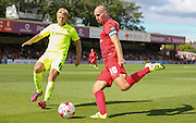 Russell Penn & Nicky Featherstone  during the Sky Bet League 2 match between York City and Hartlepool United at Bootham Crescent, York, England on 15 August 2015. Photo by Simon Davies.