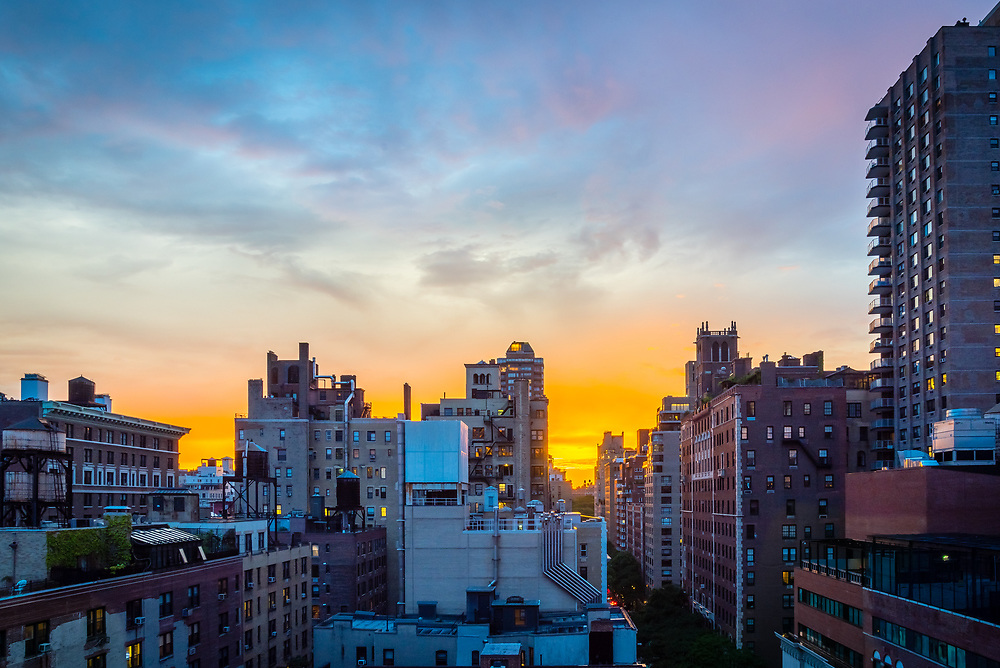 Sunset over Manhattan on the Upper East Side.