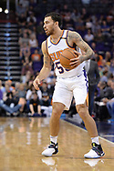 Oct 25, 2017; Phoenix, AZ, USA; Phoenix Suns guard Mike James (55) handles the ball in the game against the Utah Jazz at Talking Stick Resort Arena. Mandatory Credit: Jennifer Stewart-USA TODAY Sports