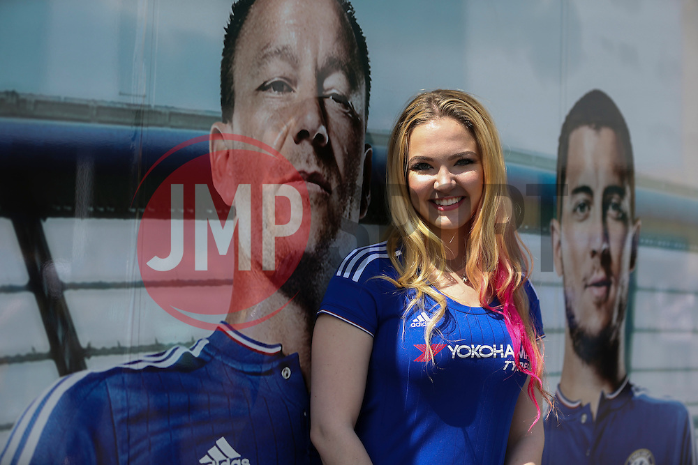 Emily from New York poses with John Terry poster outside Stamford Bridge - Mandatory byline: Jason Brown/JMP - 15/05/2016 - FOOTBALL - London, Stamford Bridge - Chelsea v Leicester City - Barclays Premier League