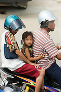 Family on motorbike.