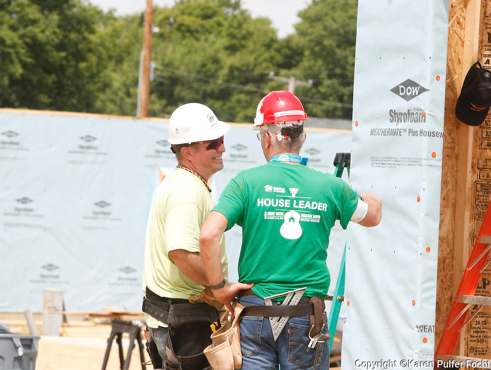 "GARTH BROOKS (left) worked on a Habitat for Humanity house in Memphis on Tuesday. He and Trisha Yearwood were helping, Former President JIMMY CARTER build homes for the needy in Memphis during the for the 33rd annual Jimmy & Rosalynn Carter Work Project. They're building 19 homes for Habitat for Humanity of Greater Memphis. The Former President Jimmy Carter said Monday that he put on ""a false, optimistic face"" and that ""I just thought I had a few weeks to live.""  He announced on Aug. 14, 2015, that he'd had a mass removed from his liver and that he'd been diagnosed with cancer which emerged that melanoma spots had reached his brain. He was onsite with hundreds of volunteers building new homes and a new neighborhood in needy North Memphis."