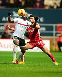Scott Golbourne of Bristol City puts pressure on Neeskens Kebano of Fulham - Mandatory by-line: Alex James/JMP - 22/02/2017 - FOOTBALL - Ashton Gate - Bristol, England - Bristol City v Fulham - Sky Bet Championship