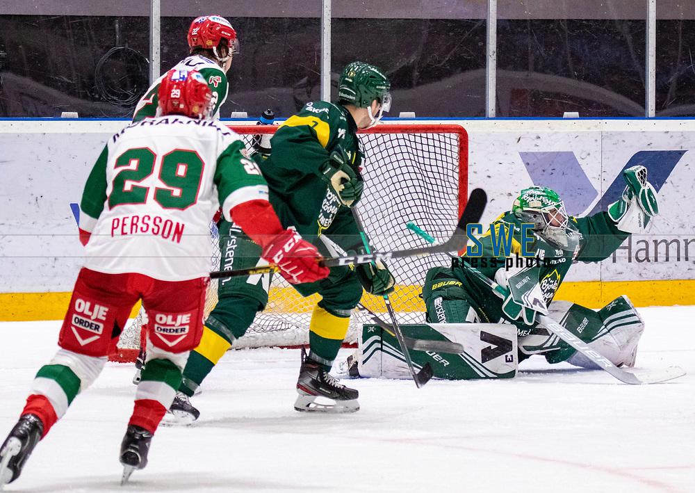 2019-12-02 | Umeå, Sweden:Björklöven (30) Mattias Pettersson saved Mora IK:s last shot on goal in  HockeyAllsvenskan during the game  between Björklöven and Mora at A3 Arena ( Photo by: Michael Lundström | Swe Press Photo )<br /> <br /> Keywords: Umeå, Hockey, HockeyAllsvenskan, A3 Arena, Björklöven, Mora, mlbm191202