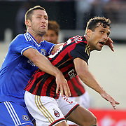 Gary Cahill, Chelsea, challenges Matías Auguste Silvestre, AC Milan, during the Chelsea V AC Milan Guinness International Champions Cup tie at MetLife Stadium, East Rutherford, New Jersey, USA.  4th August 2013. Photo Tim Clayton