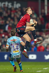 January 19, 2019 - Limerick, Ireland - Mike Haley of Munster jumps high for the ball during the Heineken Champions Cup match between Munster Rugby and Exeter Chiefs at Thomond Park in Limerick, Ireland on January 19, 2019  (Credit Image: © Andrew Surma/NurPhoto via ZUMA Press)