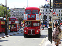 London Buses Routemaster Heritage Route 15, Central London, UK, 01 August 2018, London Buses Routemaster Heritage Route 15 runs between Trafalgar Square and Tower Hill using 1960's AEC Routemasters. It is the last and only regular London bus route using the original Routemaster bus.
