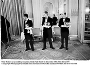 Wine Waiters at a wedding reception. Hyde Park Hotel. 16 December 1984. Film 841121f35<br />