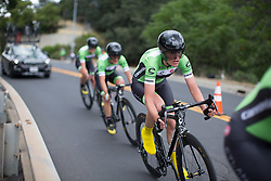 Doris Schweizer (SUI) of Cylance Pro Cycling digs deep during the second, 20.3 km team time trial stage of the Amgen Tour of California - a stage race in California, United States on May 20, 2016 in Folsom, CA.