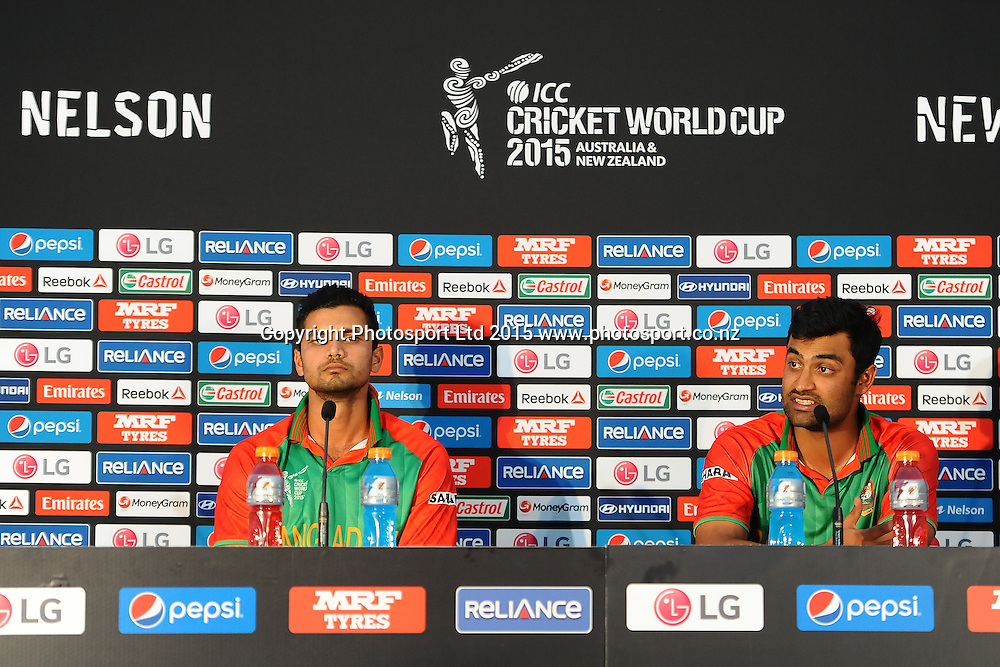 Tamim Iqbal(R) from Bangladesh talks to the media with his teammate Mashrafe Mortaza during the 2015 ICC Cricket World Cup match between Bangladesh v Scotland. Saxton Oval, Nelson, New Zealand. Thursday 5 March 2015. Copyright Photo: Chris Symes / www.photosport.co.nz