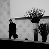 Sergio Ermotti, Group CEO of UBS leaving the stage at the end of the 2012 Annual General Meeting  with shareholders at a conference hall in a Zurich suburb.