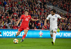 CARDIFF, WALES - Friday, September 6, 2019: Wales' Daniel James takes on Azerbaijan's Ali Babayev during the UEFA Euro 2020 Qualifying Group E match between Wales and Azerbaijan at the Cardiff City Stadium. (Pic by Mark Hawkins/Propaganda)