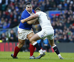 February 10, 2019 - London, England, United Kingdom - Guilhem Guirado of France  gets stopped by Owen Farrell of England .during the Guiness 6 Nations Rugby match between England and France at Twickenham  Stadium on February 10th, 2019 in Twickenham, London,  England. (Credit Image: © Action Foto Sport/NurPhoto via ZUMA Press)