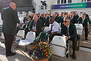 Stewards briefing before the start of the ICC Cricket World Cup 2019 match between West Indies and Pakistan at Trent Bridge, West Bridgford, United Kingdon on 31 May 2019.