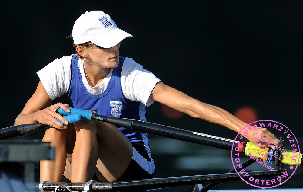 ALEXANDRA TSIAVOU (GREECE) PREPARES BEFORE START IN THE WOMEN'S LIGHTWEIGHT SINGLE SCULLS DURING REGATTA ROWING WORLD CUP ON ROTSEE LAKE IN LUCERN, SWITZERLAND...SWITZERLAND , LUCERN , JULY 09, 2010..( PHOTO BY ADAM NURKIEWICZ / MEDIASPORT )..PICTURE ALSO AVAIBLE IN RAW OR TIFF FORMAT ON SPECIAL REQUEST.