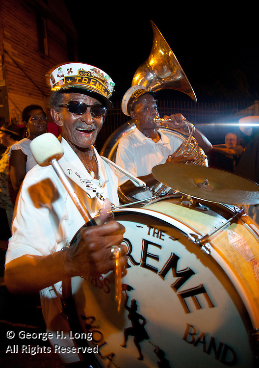 "Satchmo Strut 2009; Frenchmen Street; New Orleans; Drummer ""Uncle"" Lionel Batiste and Sousaphone player Kirk Joseph perform with the Treme Brass Band during a second-line parade"