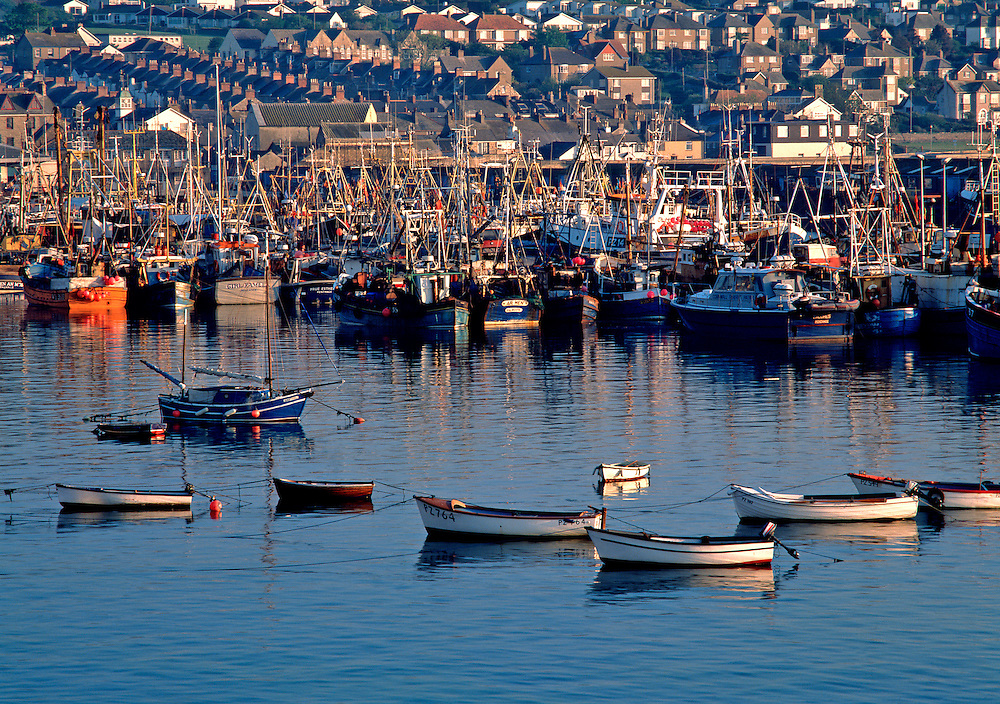 Boats fill the harbor and houses crowd the hills in Newlyn, Cornwall, England.