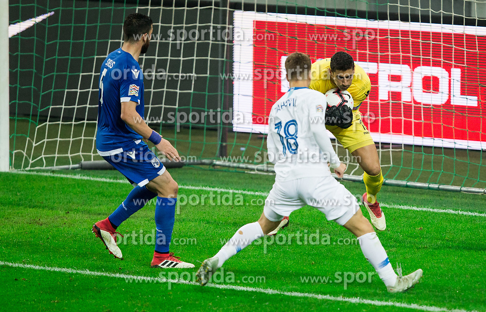 Luka Zahovic of Slovenia vs Kostas Panayi of Cyprus during football match between National Teams of Slovenia and Cyprus in Final Tournament of UEFA Nations League 2019, on October 16, 2018 in SRC Stozice, Ljubljana, Slovenia. Photo by Vid Ponikvar / Sportida