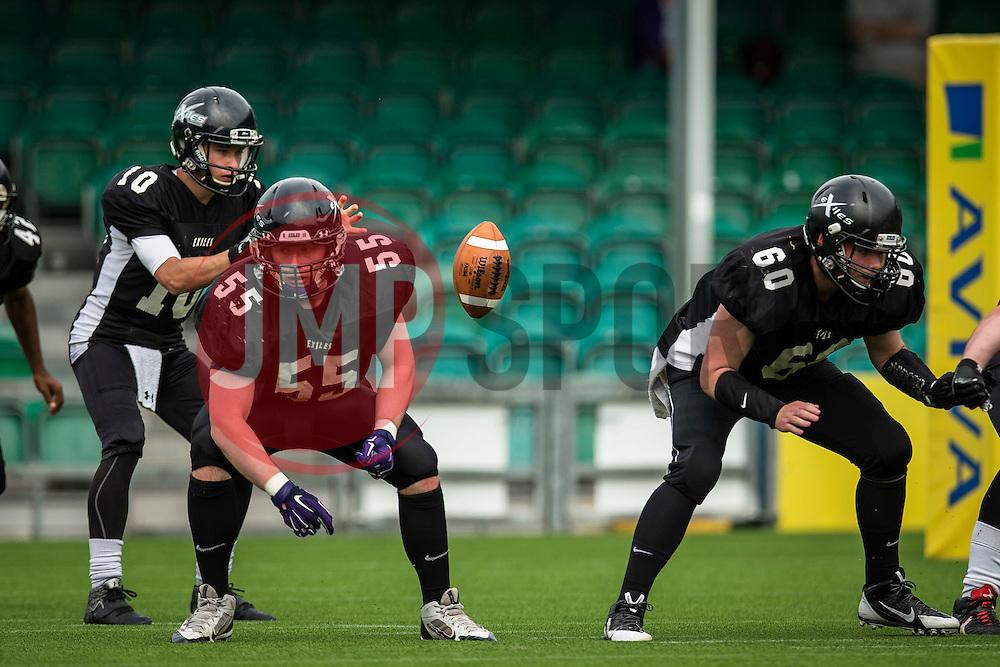 Kent Exiles quarter back in action - Mandatory by-line: Jason Brown/JMP - 27/08/2016 - AMERICAN FOOTBALL - Sixways Stadium - Worcester, England - Kent Exiles v East Kilbride Pirates - BAFA Britbowl Finals Day