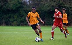 WOLVERHAMPTON, ENGLAND - Tuesday, December 19, 2017: Wolverhampton Wanderer's Kevin Berkoe during an Under-18 FA Premier League match between Wolverhampton Wanderers and Liverpool FC at the Sir Jack Hayward Training Ground. (Pic by David Rawcliffe/Propaganda)