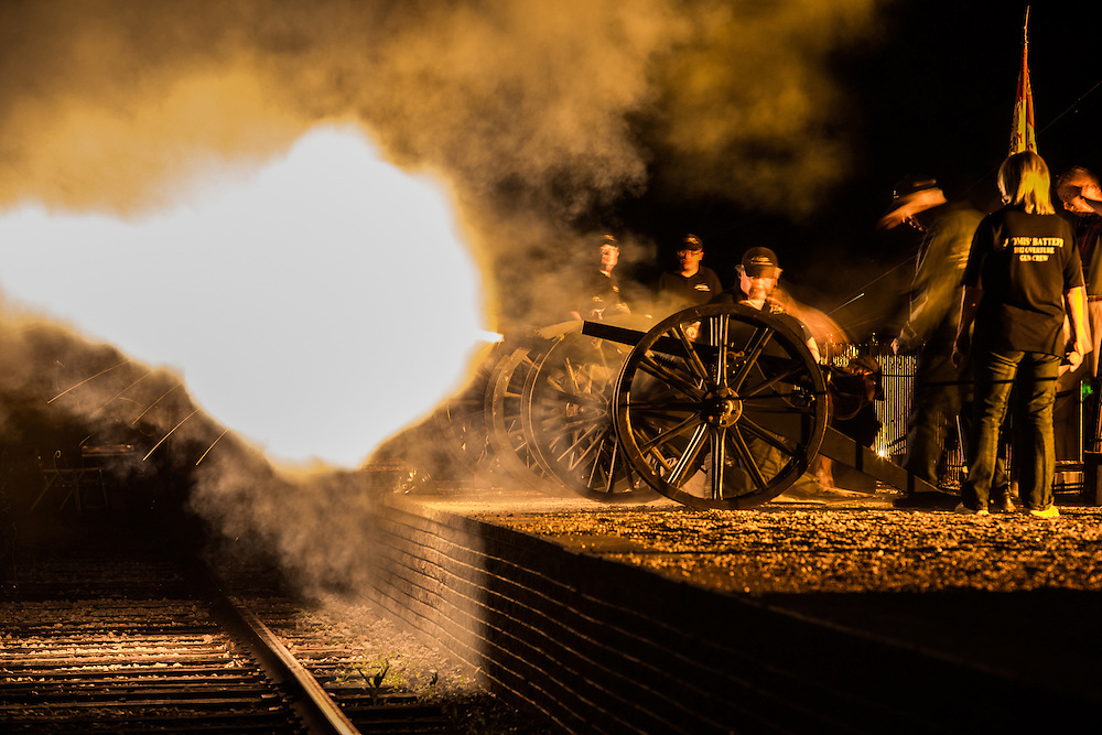 Canons being fired during Greenfield Village's annual Salute to America.  Photographed for The Henry Ford by KMS Photography