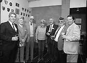 "Veterans Of Foreign Wars At Guinness..1986..28.05.1986.05.28.1986..28th May 1986..A group of ""Veterans of Foreign Wars"" from Revere,Massachesetts,USA,who are on an eight day visit to Ireland were entertained at a reception at the Guinness Brewery,St James's Gate,Dublin. The trip was organised by the Organisation of National .Ex-Servicemen and Women...Picture shows ""Veterans"" (with drinks in hand) as they pose  for the camera man with Mr Paddy McKenna,Director,Guinness Ireland (third from right)."
