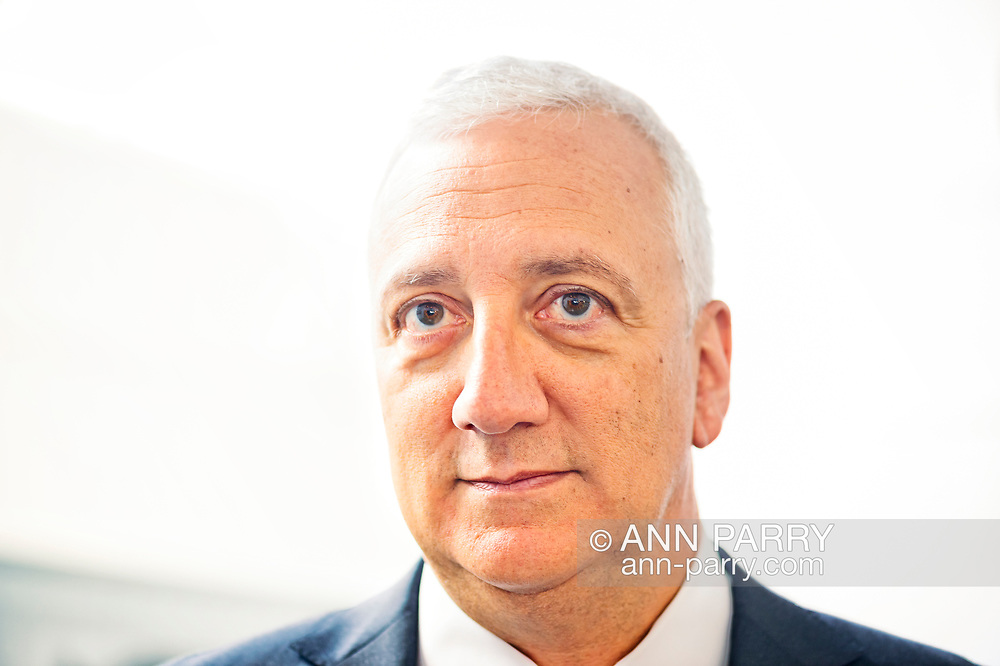 Garden City, New York, USA. June 21, 2018. Closeup of MIKE MASSIMINO, former NASA space shuttle astronaut, who is inducted into Long Island Air & Space Hall of Fame Class of 2018 at Cradle of Aviation Museum.