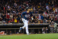 Trevor Plouffe #24 of the Minnesota Twins runs to 1st base against the Boston Red Sox on May 17, 2013 at Target Field in Minneapolis, Minnesota.  The Red Sox defeated the Twins 3 to 2.  Photo: Ben Krause