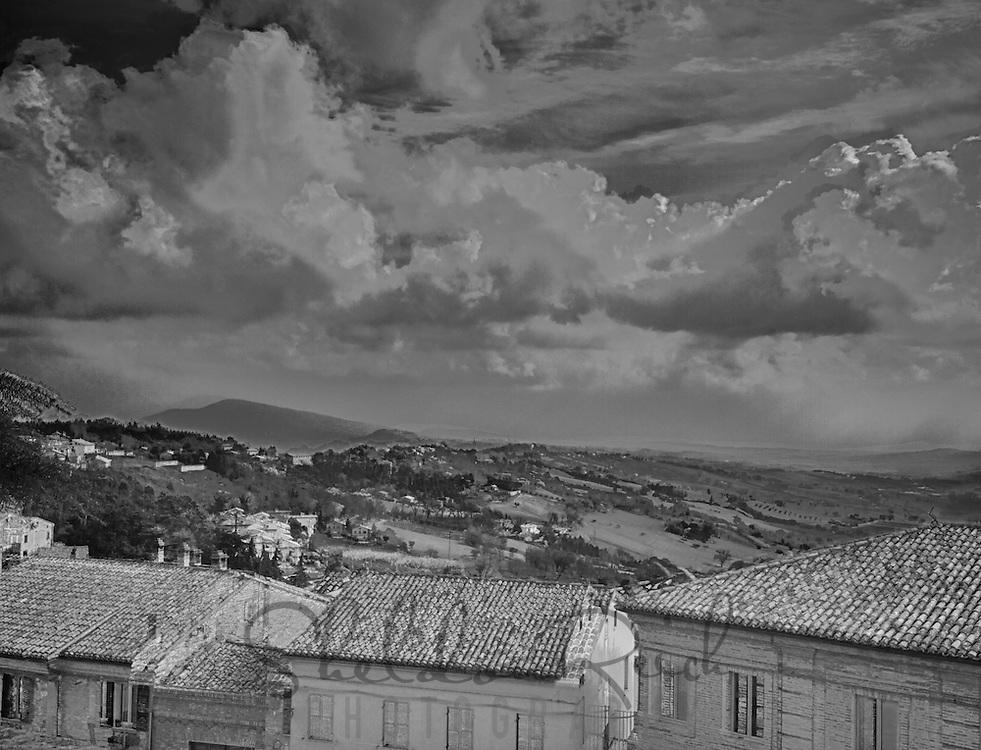 Cloudy sky over Offagna, Italy