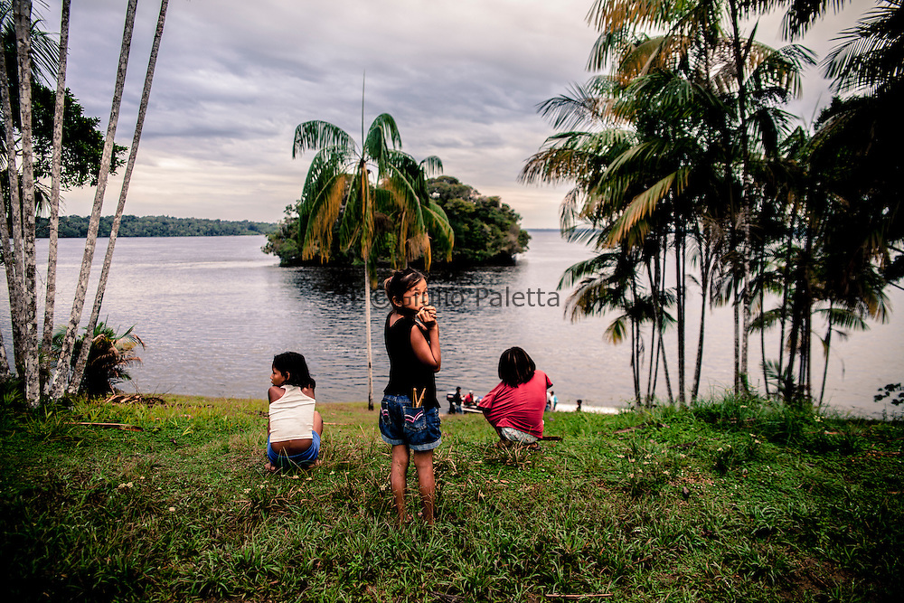 River community along the Rio Negro, Amazonia near the triple border Brazil, Colombia and Venezuela