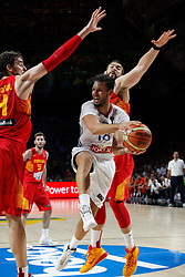 10.09.2014, Palacio de los deportes, Madrid, ESP, FIBA WM, Frankreich vs Spanien, Viertelfinale, im Bild Spain&acute;s Marc Gasol (R) and Pau Gasol (L) and France&acute;s Fournier // during FIBA Basketball World Cup Spain 2014 Quarter-Final match between France and Spain at the Palacio de los deportes in Madrid, Spain on 2014/09/10. EXPA Pictures &copy; 2014, PhotoCredit: EXPA/ Alterphotos/ Victor Blanco<br /> <br /> *****ATTENTION - OUT of ESP, SUI*****