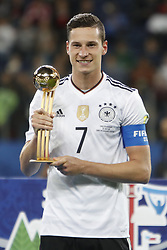 July 3, 2017 - Saint Petersburg, Russia - Julian Draxler of Germany national team with Golden Ball trophy during award ceremony after FIFA Confederations Cup Russia 2017 final match between Chile and Germany at Saint Petersburg Stadium on July 2, 2017 in Saint Petersburg, Russia. (Credit Image: © Mike Kireev/NurPhoto via ZUMA Press)