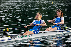 Lea Hren and Pia Potocnik during practice session of Slovenian Youth Rowing team for European Championship 2018, on May 20, 2018, in Bled, Slovenia. Photo by Vid Ponikvar / Sportida