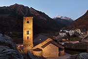 Church of Sant Joan de Boi, an 11th century early Romanesque church in Boi, in the evening, in the La Vall de Boi region, Lleida, Catalonia, Spain. The church forms part of the UNESCO World Heritage Site, Catalan Romanesque Churches of the Vall de Boi. Picture by Manuel Cohen