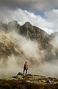 WASHNGTON - Hiker on Sahale Arm in North Cascades National Park.