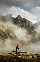WASHNGTON - Hiker on Sahale Arm in North Cascades National Park.
