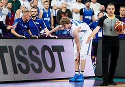 Lauri Markkanen of Finland injured during basketball match between National Teams of Finland and Slovenia at Day 3 of the FIBA EuroBasket 2017 at Hartwall Arena in Helsinki, Finland on September 2, 2017. Photo by Vid Ponikvar / Sportida